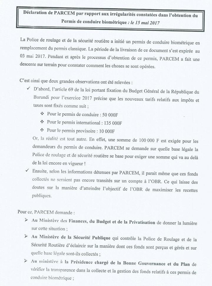 Extrêmement PARCEM constate des irrégularités dans l'obtention du permis de  RL23